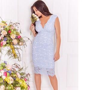 Aaliyah cornflower blue all over lace bodycon midi